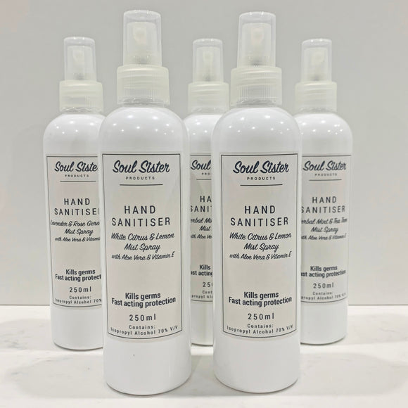 Hand Sanitiser Mist Spray 250mL home or office size White Citrus & Lemon