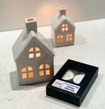Tea Light House Ceramic White Lantern