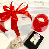 White Christmas red ribboned box with red melt burner tea lights and wax melts