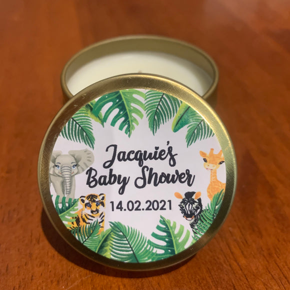 Personalised Candles Jungle Theme Design Party Favour