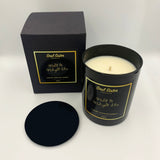 Black candle and lid with black carry gift box