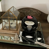 Melt and oil burner black with assorted wax melts and tea light candles