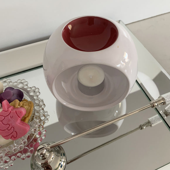 Melt and Oil Burner Ceramic White with Tuscan Red bowl