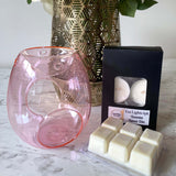 Pearl pink melt burner with tea light candles and wax melts box