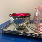 Wax Melt Bowl Silver with Hot Pink interior