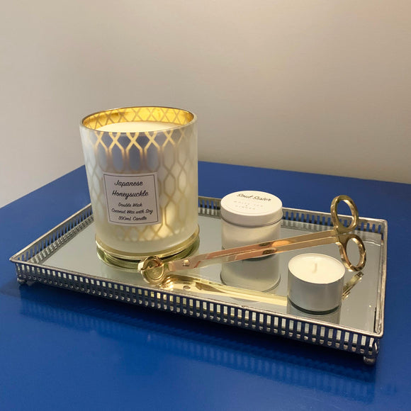 Silver mirrored and decoratively edged designed with candles and wick trimmers gold candle