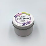 White candle personalised for events, Bridal Shower, white label with purple and lilac wreath design