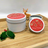 White Christmas candle tins with Red Baubles label design and personalised text, large and small candle tins