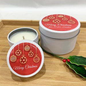 White Christmas candle tins with Red Baubles label design and personalised text, large and small candle tin sizes
