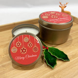 Gold Christmas candle tins with Red Bauble label design and personalised text with gold wick trimmers