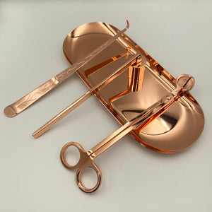 Rose Gold Candle Accessory Set Luxury Candle Tools with matching tray