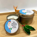 Gold Christmas candle tins with cute Santa label design and personalised text, two size candle tins