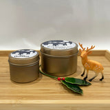 Gold Christmas candle tins with Santa Sleigh label design and personalised text for gift