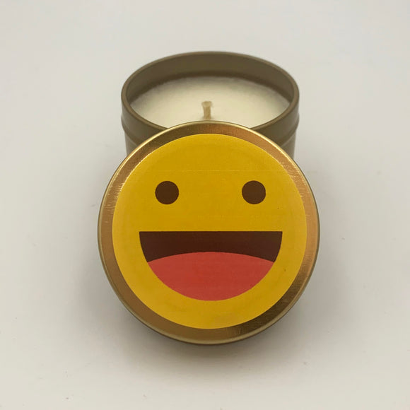 Smiling Emoji Candle Travel Tin Smilie Face candle