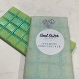 Wax melts Snap Bars soy blend coloured lime with pearl mica Japanese Honeysuckle scent tissue paper wrapped with Soul Sister Products