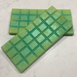Wax melt Snap Bars soy blend coloured lime with pearl mica Japanese Honeysuckle scent