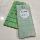 Wax melt Snap Bars soy blend coloured lime with pearl mica Japanese Honeysuckle scent tissue paper wrapped with Soul Sister Products