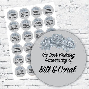 Personalised DIY Stickers - 25th Silver Wedding Anniversary