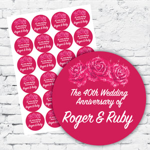 Stickers and labels with personalised design for 40th wedding anniversary, pink/fuschia vibrant colours with silver sparkle detail, round with rose design