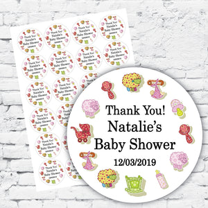 Personalised sticker label sheets, baby shower design with baby animals and cute baby toys, colourful design and text