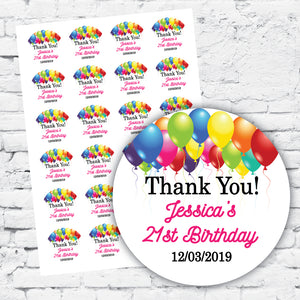 Personalised DIY Stickers - Multi coloured balloons