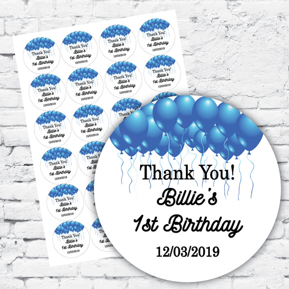 Blue balloons white background DIY label stickers Thank you personalised with date in scroll font
