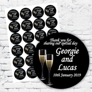 Black background champagne stylish stickers DIY labels personalised with names and date special occasion