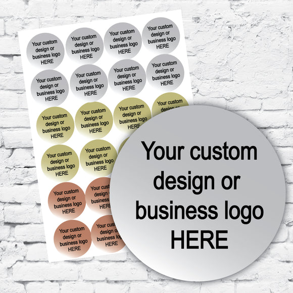 a sheet of sample round stickers or labels written 'your custom design or business logo HERE'
