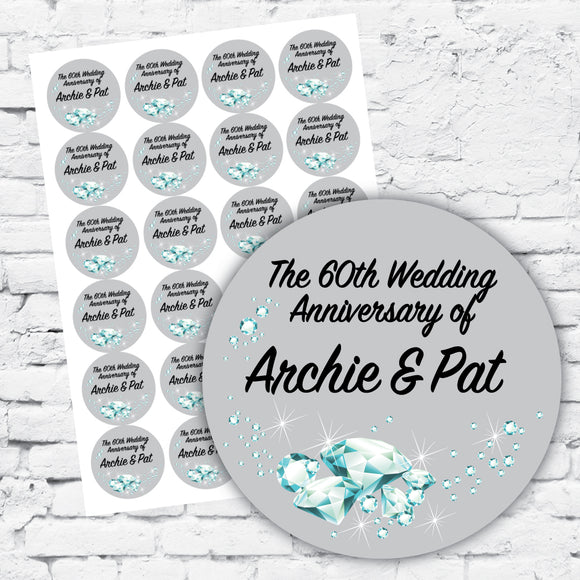 Sticker label sheets personalised with diamond design, silver with black text, classic labels