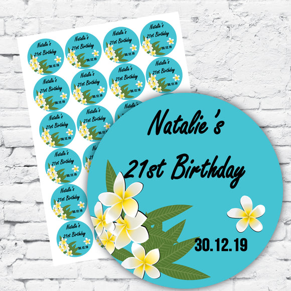 DIY label stickers personalised with names dates blue background frangipani design