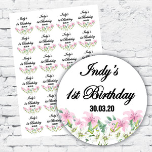 Personalised stickers labels pink lilies design, names and dates fancy font