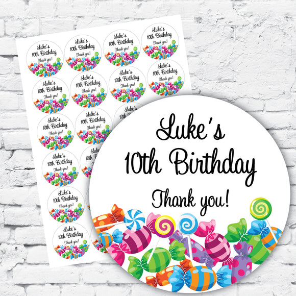 Personalised lolly design DIY labels stickers names and dates white background coloured lollies