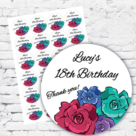 Personalised DIY Stickers - Modern Rose 18th 21st birthday