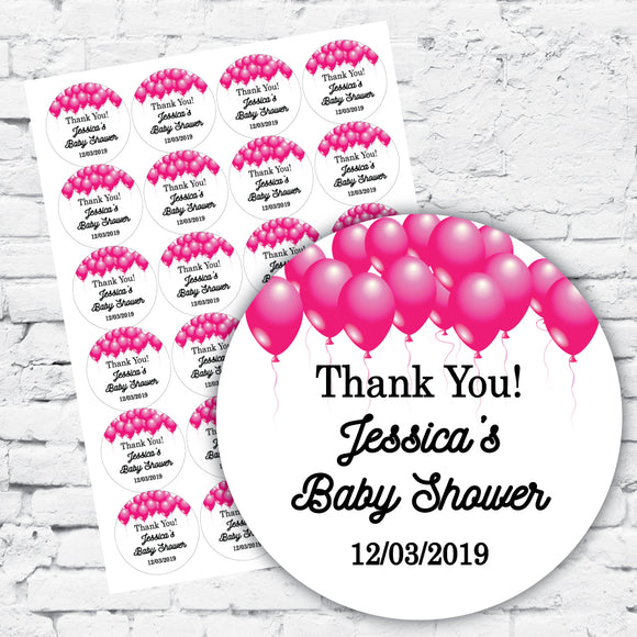 Personalised DIY Stickers - Pink Balloons celebration