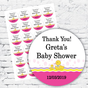 Personalised DIY Stickers - Pink Duckie Baby Shower or 1st Birthday