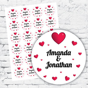 Red love hearts white background personalised design with names and dates DIY labels and stickers