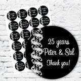 Personalised DIY Stickers - Silver Scroll Elegant Silver Party Theme