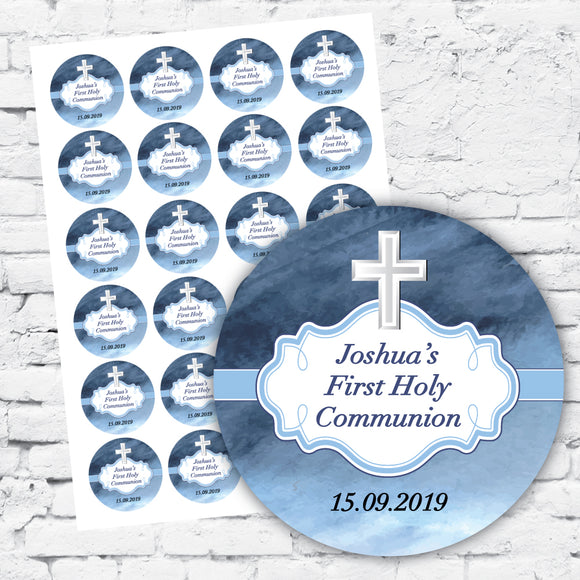 DIY label stickers blue background with white cross personalised with name and event and date with scroll