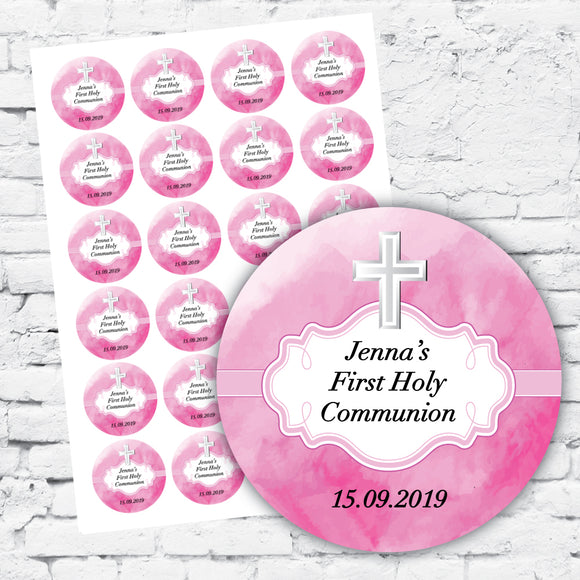 Personalised DIY Stickers - Pink Watercolour Cross design