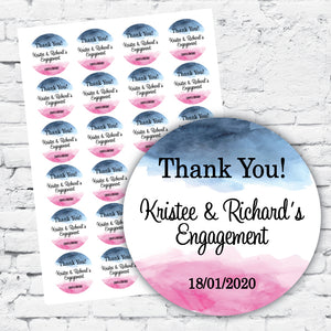 Personalised DIY Stickers - Watercolour Blue and Pink Engagement