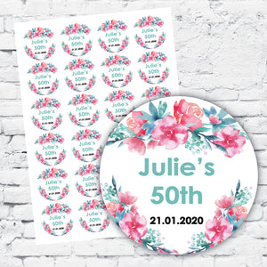 Personalised DIY Stickers - Watercolour Floral Elegant design