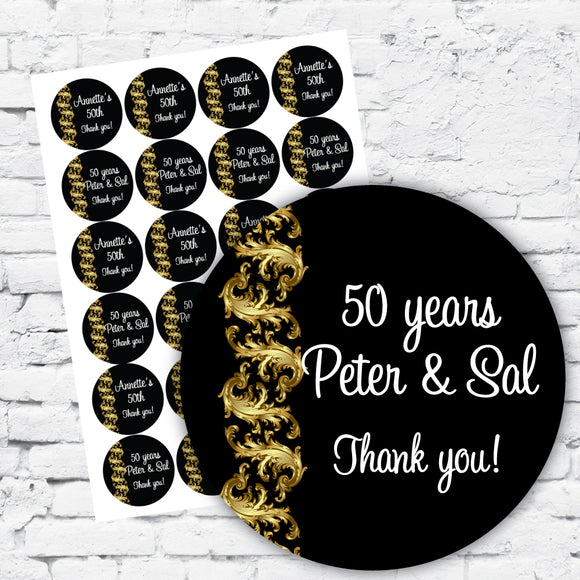 Personalised DIY Stickers - Gold Scroll Elegant Gold Party Theme