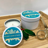 White Christmas candle tins with teal Christmas ornament design large and small