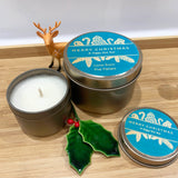 Christmas Gift Candle Tins Teal and Gold Christmas Ornament label design - Personalisation Option