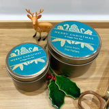 Gold Christmas candle tins with teal and gold design label Christmas ornament design and personalised text, large and small