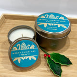 Gold Christmas candle tins with teal label Christmas ornament design and personalised text, large and small