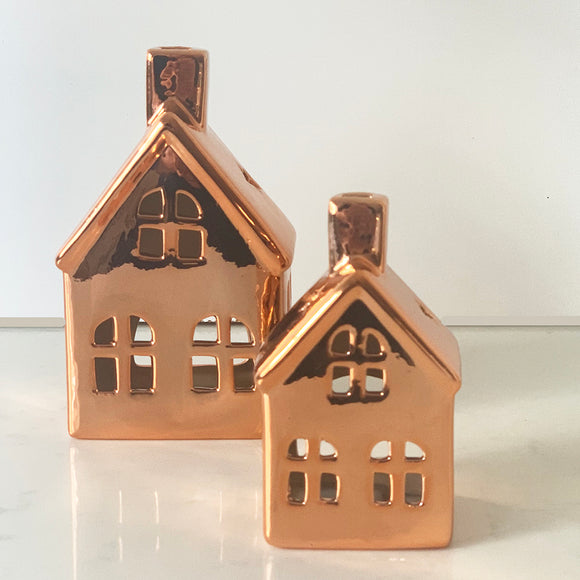Copper shine metallic ceramic tea light houses large with windows and small with windows