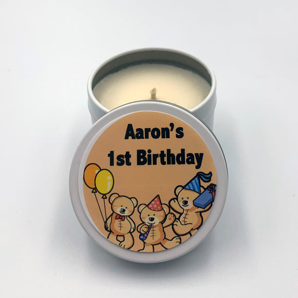Personalised white candle, children's theme teddy bears and balloons, orange label, customised text 1st birthday