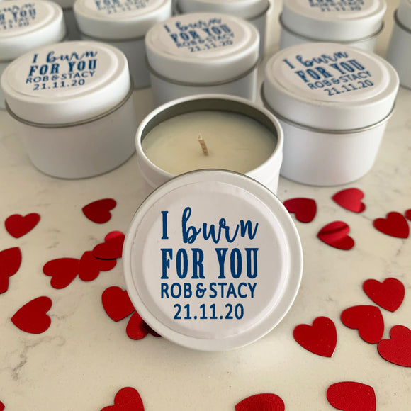 White wedding candles with personalisation label party favours
