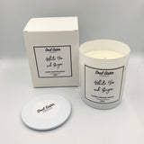 White candle box with white candle fragrance White Tea and Ginger, with lid for dust and debris protection